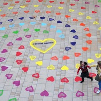 Hundreds of painted hearts welcome shoppers and visitors to Bristol city centre