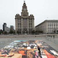 Artwork near Liverpool landmark details Donald Trump's 'dystopian' America