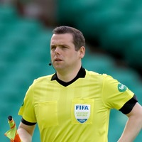 Scottish Conservative leader Douglas Ross acts as assistant referee at Wembley