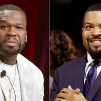 Photo altered to show Ice Cube and 50 Cent in Trump 2020 hats