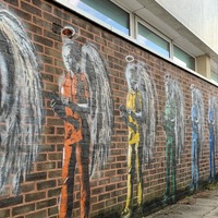 Artist paints rainbow of angelic NHS workers at Chichester hospital