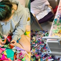 Hospital patient, 15, makes 1,000 origami cranes for 'good luck'