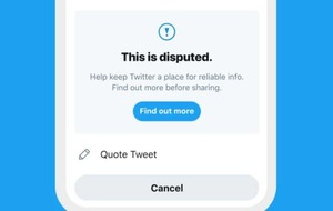 Twitter will now warn users before they like a tweet with disputed information