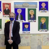 St Brigid's, Mayogall pupils paint portraits of executive ministers
