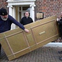 Iconic brass door of St Patrick's Presbytery removed for refurbishment