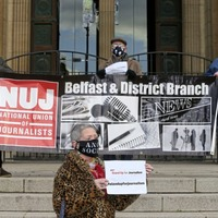 Journalists in Belfast and Derry show public support to colleagues under threat from paramilitaries
