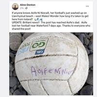 Irish girl's Gaelic football washes up on Welsh beach