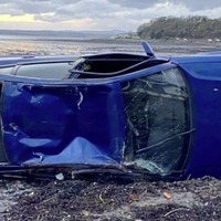 Police investigate after car leaves road and crashes on to beach in Co Down
