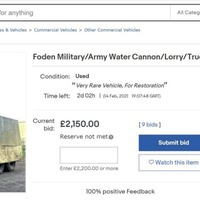 Water cannon truck used by police during Troubles sold for £3,100