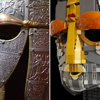 Father and daughter build Lego replica of Sutton Hoo helmet