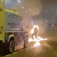 Video: Young man engulfed in flames during violence in Newtownabbey