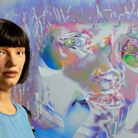 Self-portraits by robot artist go on display at the Design Museum