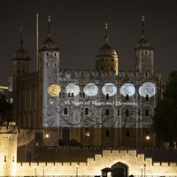 Coin display honouring Queen lights up Tower of London
