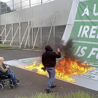 Sinn Féin united Ireland banner torched at rally 'was taken by vigilant loyalists', anti-Protocol protesters claim
