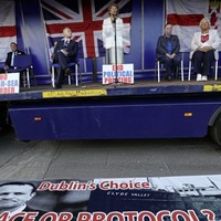 TUV leader Jim Allister condemns threatening loyalist banner carried during protest he addressed
