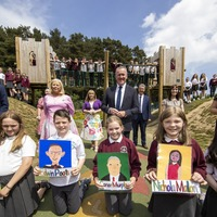 Children behind viral school art project come face to face with ministers