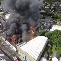 Video: Large fire breaks out in Strabane after business premises 'hit by lightning'