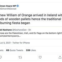 Northern Ireland Affairs Committee chair Simon Hoare describes Eleventh Night bonfires as the 'traditional pallet burning fiesta'