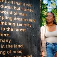 Black Lives Matter campaigner creates artwork in forest