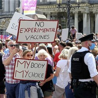 Protestors opposed to Covid restrictions and vaccine passports take part in 'freedom march'