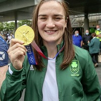 Video: Olympic gold medallist Kellie Harrington touches down in Dublin to hero's welcome