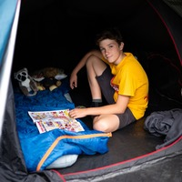 Charity camping boy says he's 'not coming in soon' after 500th night in tent