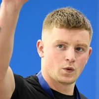 Olympian Adam Peaty slips into shimmering dress during Strictly preparation