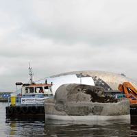 Forgotten floating head sculpture back on display after 33 years