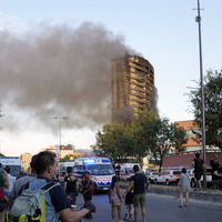 High-rise apartment block in Milan destroyed by fire