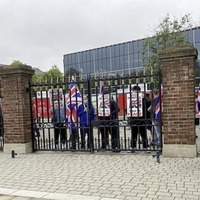 Small loyalist protest as Maros Sefcovic delivers QUB speech