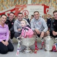 Past pupils returning heroes as they bring Sam Maguire to Co Tyrone primary school