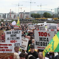 Mica scandal: Thousands protesting in Dublin to demand 100% redress