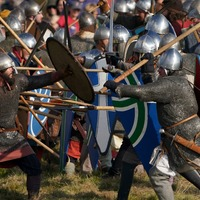Swords clash and horses charge for re-enactment of Battle of Hastings